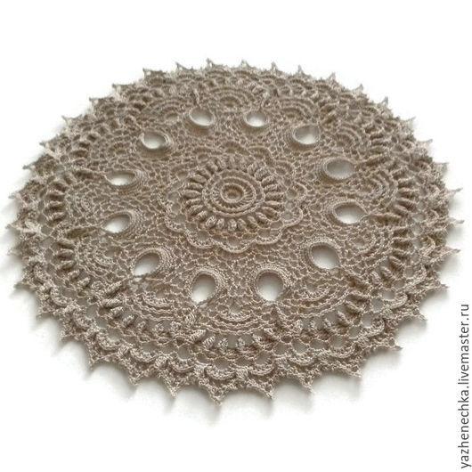 Текстиль, ковры ручной работы. Ярмарка Мастеров - ручная работа. Купить Салфетка ажурная вязаная крючком из хлопка. Handmade. Бежевый