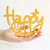 """Сувениры и подарки ручной работы. Ярмарка Мастеров - ручная работа Объемные слова из дерева """"Happy"""". Handmade."""