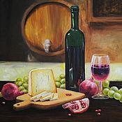 Картины и панно handmade. Livemaster - original item Oil painting still life with wine and cheese. Handmade.