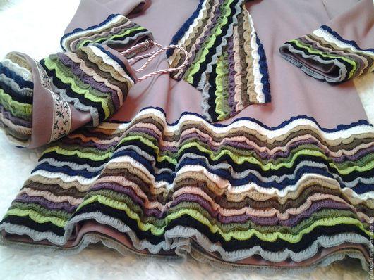 Одежда для девочек, ручной работы. Ярмарка Мастеров - ручная работа. Купить Теплое пыльно-розовое платье для девочки из джерси с рюшками. Handmade.