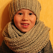 Работы для детей, handmade. Livemaster - original item Set knitted Winter Not Scary, knitted hat, scarf - snud.. Handmade.
