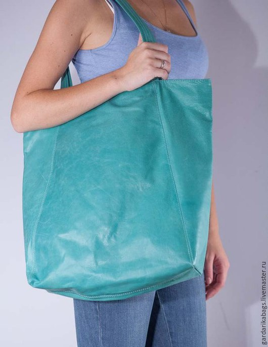 Женские сумки ручной работы. Ярмарка Мастеров - ручная работа. Купить Большая сумка из кожи бирюзовой. Handmade. Тёмно-бирюзовый
