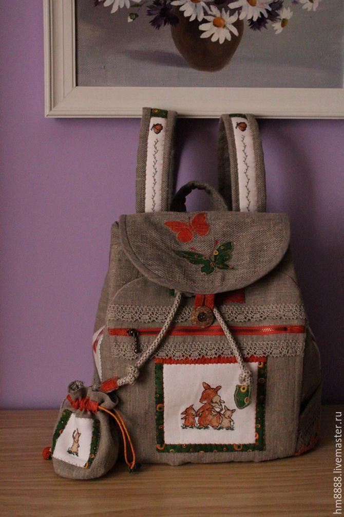 """ручной работы. Ярмарка Мастеров - ручная работа. Купить Льняной рюкзак  с мешочком для будущей мамы. """"Привет""""резерв. Handmade. Лоскутная техника"""