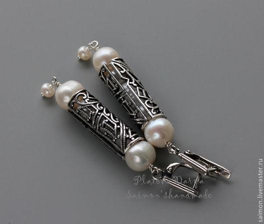 """Серьги ручной работы. Ярмарка Мастеров - ручная работа. Купить Серьги с жемчугом """"Short pearl"""". Handmade. Серьги с жемчугом, серебряный"""