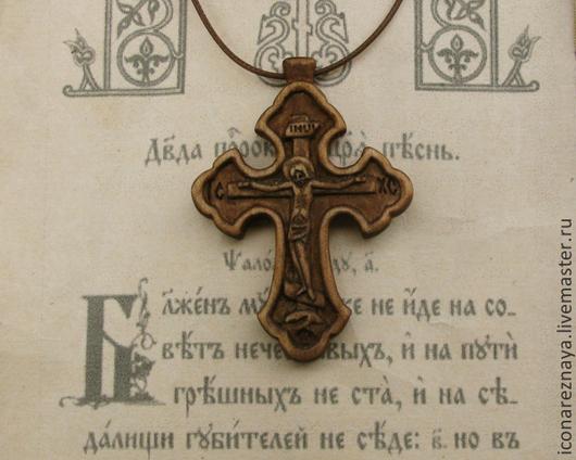 """Кулоны, подвески ручной работы. Ярмарка Мастеров - ручная работа. Купить """"Борисоглебск"""" - деревянный резной нательный крест-распятие. Handmade."""