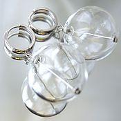Украшения ручной работы. Ярмарка Мастеров - ручная работа Серьги Мыльный пузырь шар lampwork серебристые. Handmade.