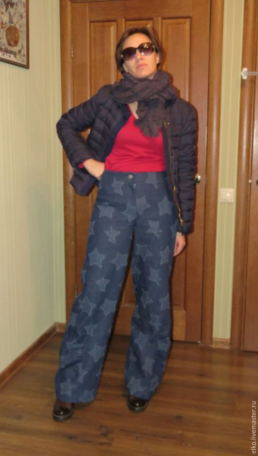 """Брюки, шорты ручной работы. Ярмарка Мастеров - ручная работа. Купить Джинсовые брюки """"Звезды"""". Handmade. Синий, звезды"""