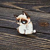 Украшения handmade. Livemaster - original item Wooden icon Disgruntled cat. Handmade.