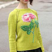 Одежда handmade. Livemaster - original item Jumper with embroidered roses. Handmade.