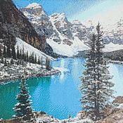 Картины ручной работы. Ярмарка Мастеров - ручная работа Картина «Ледниковое озеро Морейн» выкладка в багете. Handmade.