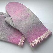 Аксессуары handmade. Livemaster - original item felted mittens. wool mittens. mittens for spring. Handmade.