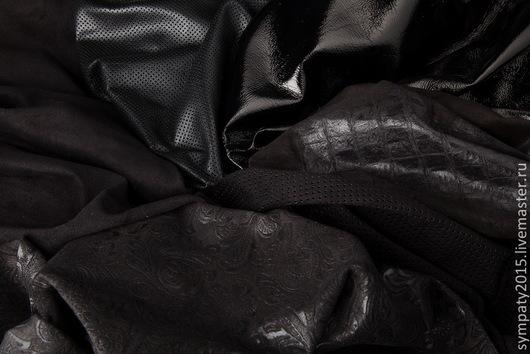 """Шитье ручной работы. Ярмарка Мастеров - ручная работа. Купить Итальянская кожа и замша черная, коллекция """"Ночь"""". Handmade."""