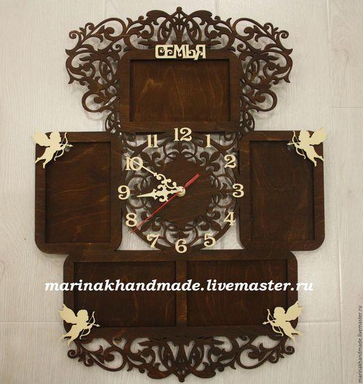 Часы для дома ручной работы. Ярмарка Мастеров - ручная работа. Купить Часы+фоторамки. Handmade. Коричневый, айвори, тонирование, фоторамка из дерева