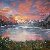 Картины и панно handmade. Livemaster - original item oil painting landscape sunset 50/70
