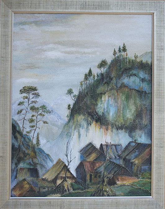 """Пейзаж ручной работы. Ярмарка Мастеров - ручная работа. Купить Фреска """"Восточный пейзаж - 2 """". Handmade. Терра, япония"""