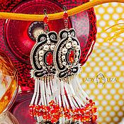 Украшения handmade. Livemaster - original item Earrings with Margaret fringe. Long earrings. Black red white. Handmade.