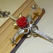 Украшения handmade. Livemaster - original item Cross Roses. Silver ,coral. Handmade.