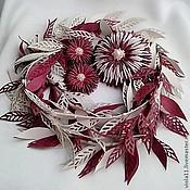 """Украшения ручной работы. Ярмарка Мастеров - ручная работа """"Белые ночи"""" Лариат брошь клипсы кожа цветок жемчуг розовый. Handmade."""