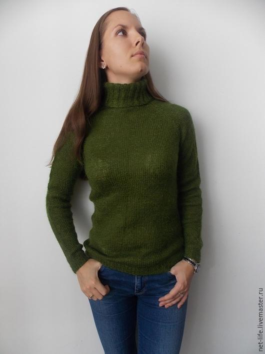"""Кофты и свитера ручной работы. Ярмарка Мастеров - ручная работа. Купить Свитер мохеровый """"Хвоинки"""". Handmade. Зеленый, свитер мохеровый"""