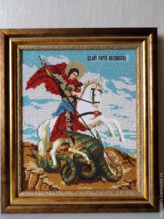 Иконы ручной работы. Ярмарка Мастеров - ручная работа. Купить Икона Георгий Победоносец. Handmade. Разноцветный, икона в подарок