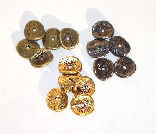 Для украшений ручной работы. Ярмарка Мастеров - ручная работа. Купить 20шт Спейсер-диск изогнутый 5 цветов 9,5мм. Handmade.