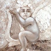 Картины и панно ручной работы. Ярмарка Мастеров - ручная работа Ангел с арфой. Handmade.