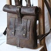 Мужской рюкзак ручной работы. Ярмарка Мастеров - ручная работа Мужской кожаный рюкзак в стиле rolltop - 2. Handmade.