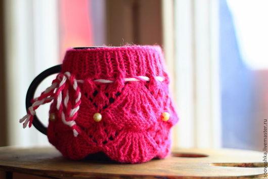 """Кухня ручной работы. Ярмарка Мастеров - ручная работа. Купить Вязаный чехол на кружку """"Принцесса"""". Handmade. Розовый, чехол для куружки"""