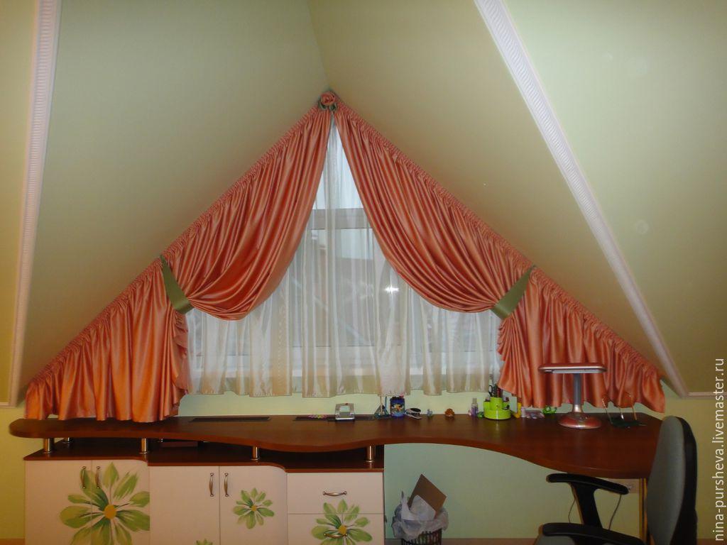 Шторы на треугольные мансардные окна фото