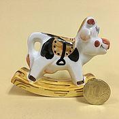 Сувениры и подарки handmade. Livemaster - original item A cow with a saddle rocking chair porcelain. Handmade.