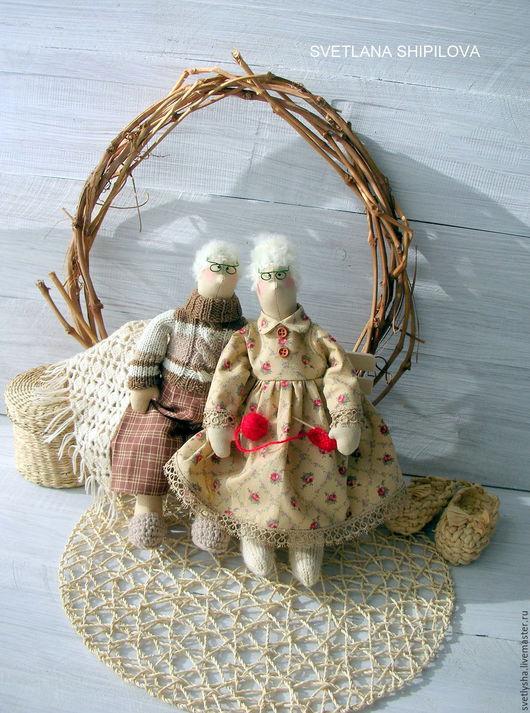 Куклы Тильды ручной работы. Ярмарка Мастеров - ручная работа. Купить Семейная пара Дед и Бабушка. Handmade. Бежевый, сплюша