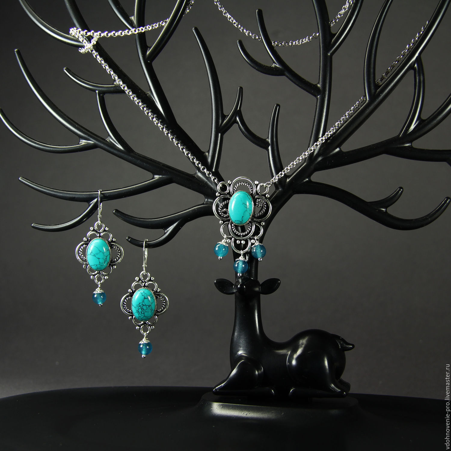 Set with turquoise and aquamarine Turkmenistan 'Tenderness', Jewelry Sets, Yaroslavl,  Фото №1