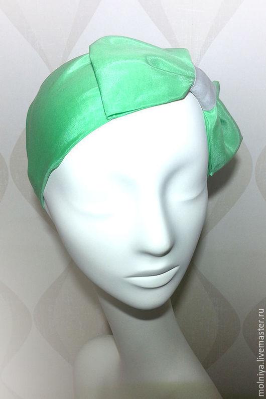 Полоска-повязка для волос с бантом Pin Up - свежая мята!