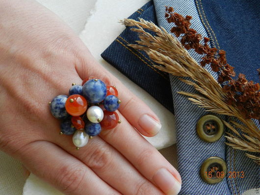 """Кольца ручной работы. Ярмарка Мастеров - ручная работа. Купить """"Джинс"""" кольцо с подвесками (содалит, жемчуг, агат). Handmade. Синий"""