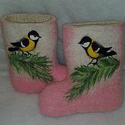 """Обувь ручной работы. Ярмарка Мастеров - ручная работа детские валенки """"Синички"""". Handmade."""