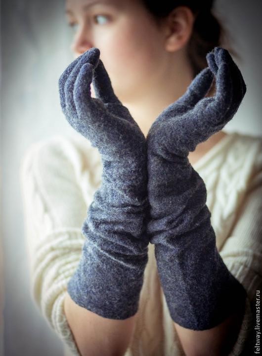 Варежки, митенки, перчатки ручной работы. Ярмарка Мастеров - ручная работа. Купить Перчатки длинные войлок. Handmade. Черный
