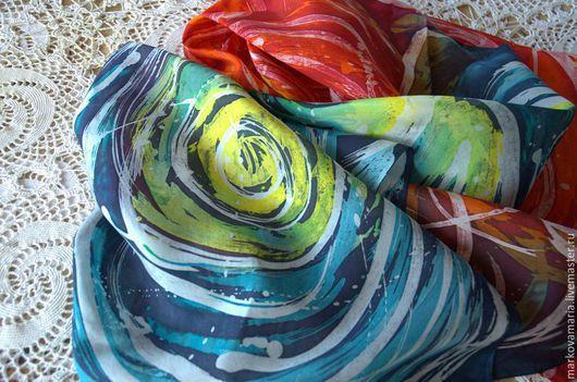 """Шали, палантины ручной работы. Ярмарка Мастеров - ручная работа. Купить Шелковый палантин шарф """"Вихри"""" ручная роспись батик. Handmade."""