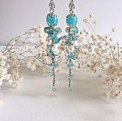 Украшения handmade. Livemaster - original item Long earrings made of amazonite, Apatite and pearl. Handmade.