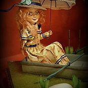 Куклы и пупсы ручной работы. Ярмарка Мастеров - ручная работа Кукла - ДЕВУШКА В ЛОДКЕ С ЗОНТИКОМ. Handmade.
