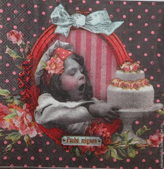 """Декупаж и роспись ручной работы. Ярмарка Мастеров - ручная работа. Купить Салфетка для декупажа """"Вкусный тортик"""". Handmade. Черный, девочка"""