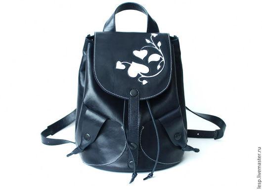 Рюкзаки ручной работы. Ярмарка Мастеров - ручная работа. Купить Рюкзак кожаный женский темно-синий. Handmade. Тёмно-синий