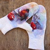 Аксессуары handmade. Livemaster - original item Felted mittens of the Winter morning. Handmade.