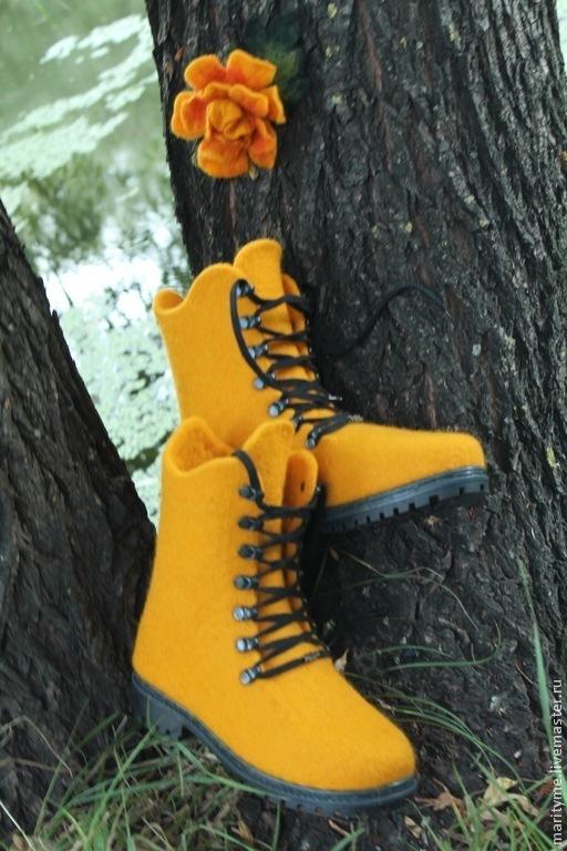 """Обувь ручной работы. Ярмарка Мастеров - ручная работа. Купить Валяные ботинки """"Жанна"""". Handmade. Рыжий, авторская ручная работа"""