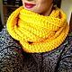Чтобы лучше рассмотреть снуд, нажмите на фото CUTE-KNIT Ната Онипченко Ярмарка Мастеров Купить желтый снуд вязаный