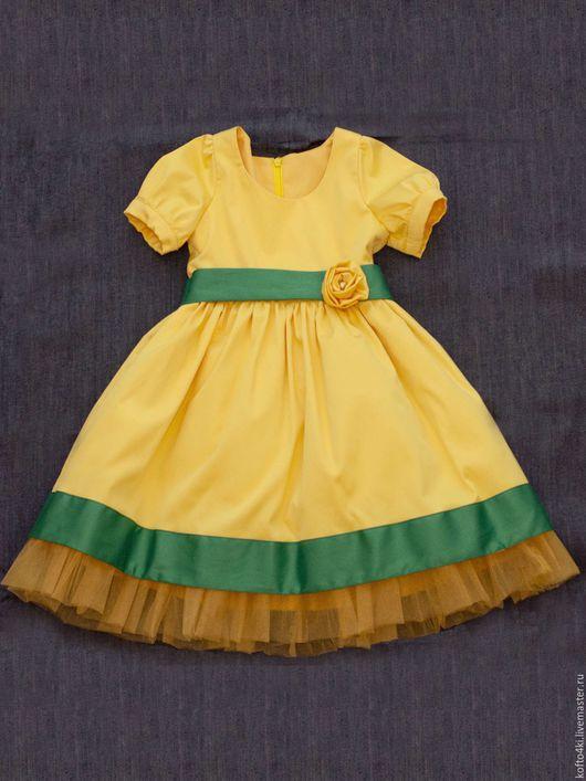 Одежда для девочек, ручной работы. Ярмарка Мастеров - ручная работа. Купить Нарядное платье атласное для девочки. Handmade. Желтый