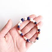 Украшения handmade. Livemaster - original item Bracelet with pearls, lapis lazuli, moonstone and coral. Handmade.