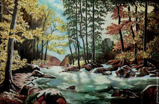 Пейзаж ручной работы. Ярмарка Мастеров - ручная работа. Купить Картина маслом на холсте Река в Лесу. Handmade. Тёмно-бирюзовый