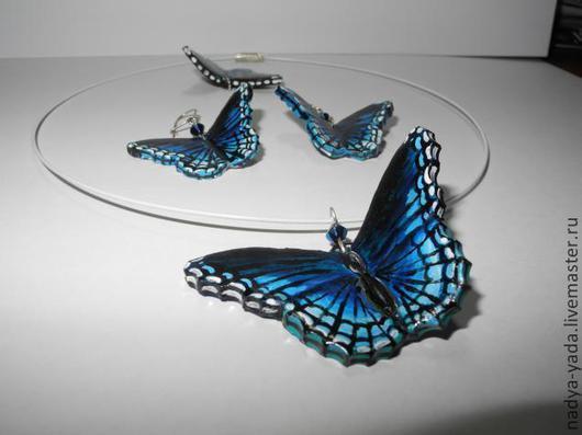 """Серьги ручной работы. Ярмарка Мастеров - ручная работа. Купить Серьги бабочки """"Голубой Морфо"""". Handmade. Тёмно-синий"""