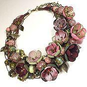 Украшения handmade. Livemaster - original item Evening Berry Forest. Choker, removable floral decor - textile flowers.. Handmade.