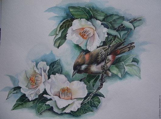 Картины цветов ручной работы. Ярмарка Мастеров - ручная работа. Купить Ветка магнолии и птичка. Handmade. Комбинированный, акварельные цветы